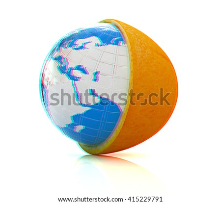 Earth on orange fruit on white background. Creative conceptual image. . 3D illustration. Anaglyph. View with red/cyan glasses to see in 3D.