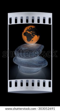 earth on spa stones. 3d icon. The film strip - stock photo