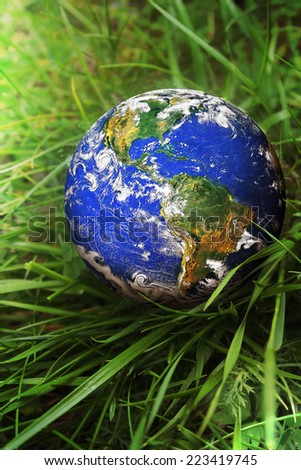 Earth on the green grass - stock photo