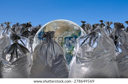 earth on trash , concept , save earth concept , conceptual , Elements of image are furnished by NASA - stock photo