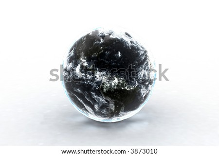 Earth on white