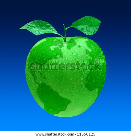 Earth, our home planet as green beautiful apple with leaves and waterdrops.  Isolated - stock photo