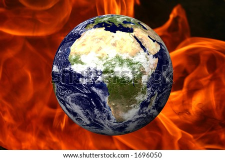 EARTH OVER FIRE - AFRICA - stock photo