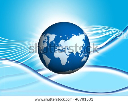 Earth over  of blue technology  background; computer generate image