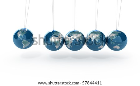 Earth pendulum isolated on white - stock photo