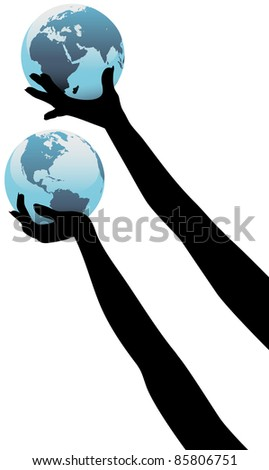 Earth people hands holding up planet Eastern and Western Hemispheres