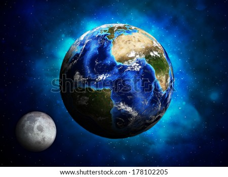 Earth planet and moon. Elements of this image are furnished by NASA - stock photo