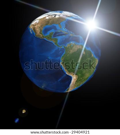 Earth planet and sun. Data source: Nasa - stock photo