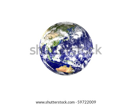 Earth planet - Asia, isolated on white background