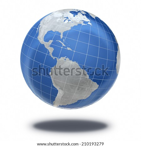Earth Planet bump metallic (isolated and clipping path) The Earth texture of this image furnished by NASA - stock photo