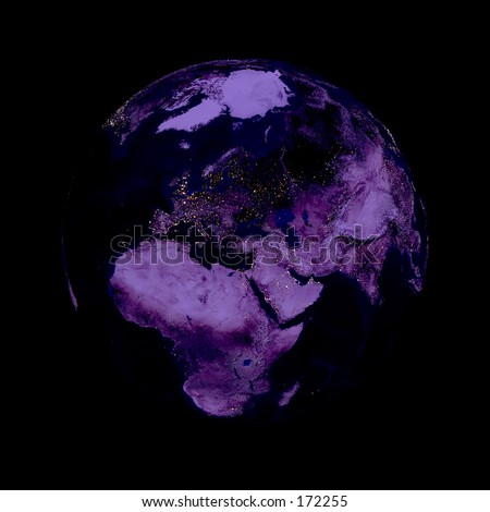 Earth planet. Europe in the center, night, lights of cities. Globe is accurate like in reality. - stock photo