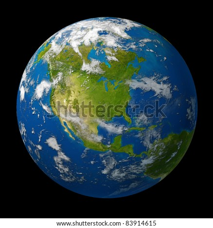 Earth planet featuring North America with the United States Canada and Mexico surrounded by blue ocean and clouds on black. - stock photo
