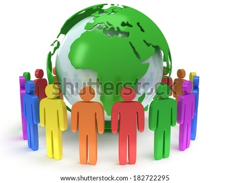 Earth planet globe and group of people. 3D render. Praise, teamwork, eco, business, global concept. - stock photo