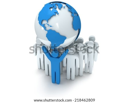 Earth planet globe and group of people with teamleader. 3D render praise teamwork eco business global concept. - stock photo