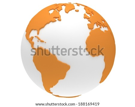 Earth planet globe. 3D render. America view. On white background. - stock photo
