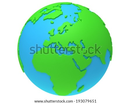 Earth planet globe. 3D render. Europe view. On white background.
