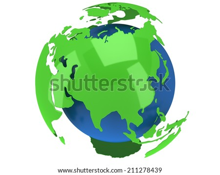 Earth planet globe. 3D render Russia view on white background. - stock photo