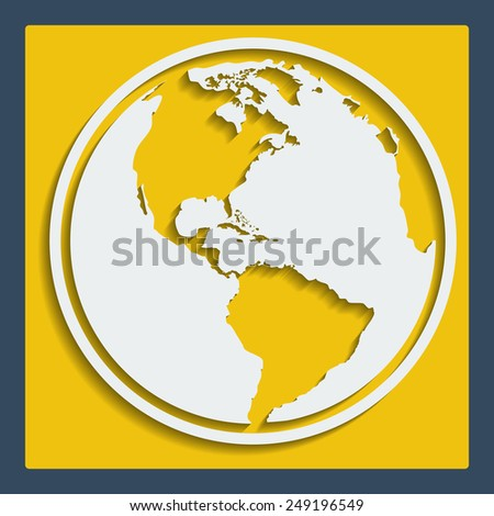 Earth planet globe icon in flat design with blend shadow for web and app
