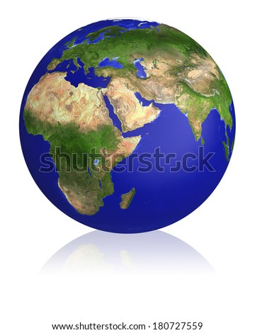 Earth planet globe map. Side of Africa and Europe. The Earth texture of this image furnished by NASA. - stock photo