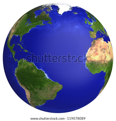 Earth planet globe map. Side of the Atlantic Ocean. The Earth texture of this image furnished by NASA. (http://visibleearth.nasa.gov/view_rec.php?id=2430) - stock photo