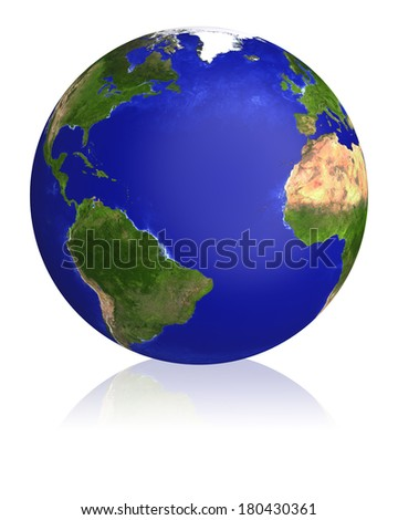 Earth planet globe map. Side of the Atlantic Ocean. The Earth texture of this image furnished by NASA.