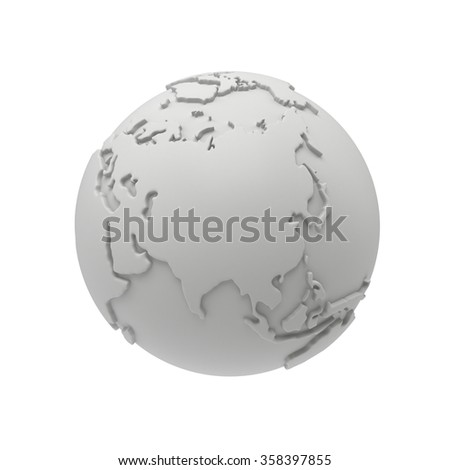 Earth planet globe white and blank 3D render. Russia view. On white background.