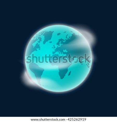 Earth planet illustration isolated on dark blue background, smooth earth globe with white clouds in space design, rotating color earth icon image