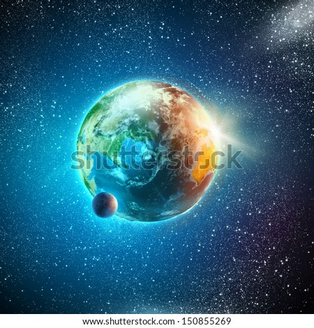 Earth planet in sun rays. Elements of this image are furnished by NASA - stock photo