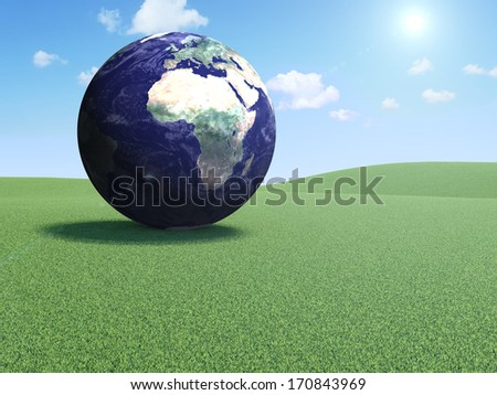 Earth Planet on a Beautiful Landscape with Clouds and Sun. (Elements of this image furnished by NASA) - stock photo