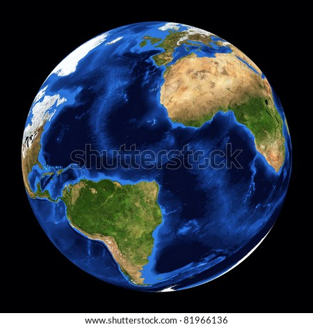earth planet on black background. Prototype from nasa web site. - stock photo