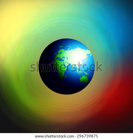 Earth planet on Colorful background