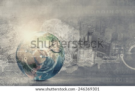Earth planet on digital background. Elements of this image are furnished by NASA - stock photo