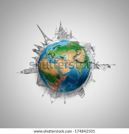 Earth planet on grey background with pencil sketches. Elements of this image are furnished by NASA - stock photo