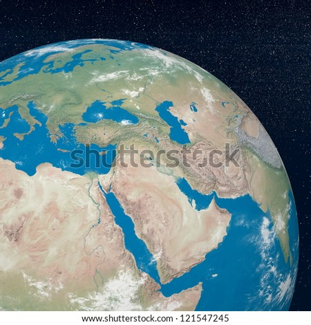 Earth planet showing middle east region in the universe surrounded with plenty of stars - stock photo