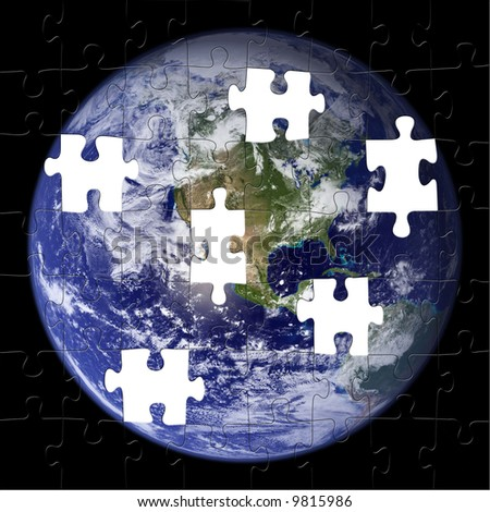 Earth Puzzle with pieces missing. (NASA Photo)