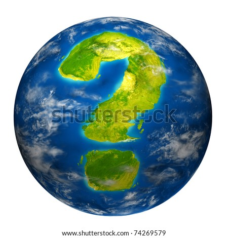 Earth question symbol represented by a world globe model with a geographic shape of a mark questioning the state of the environment the international economy and political situation. - stock photo