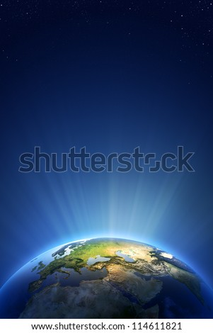 Earth Radiant Light Series - Europe (Elements of this image furnished by NASA- earthmap  http://visibleearth.nasa.gov) - stock photo