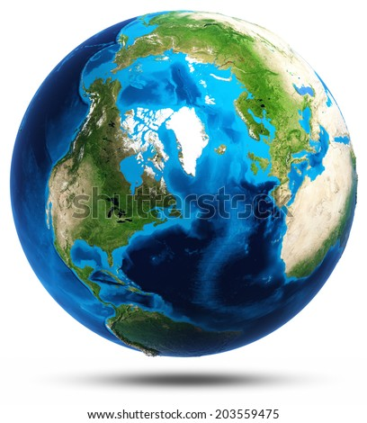 Earth real mountains relief. Elements of this image furnished by NASA - stock photo