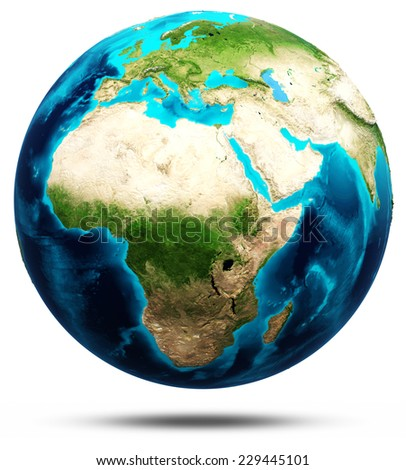 Earth real relief, modified maps, lighting and materials. Earth globe model, maps courtesy of NASA - stock photo