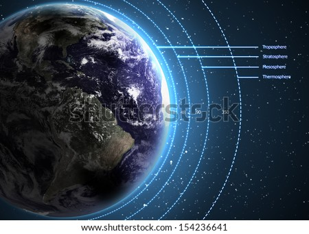Earth's Atmosphere. Elements of this image furnished by NASA - stock photo