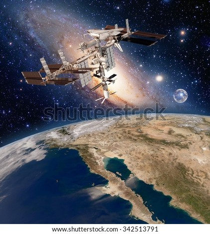 Earth satellite solar system astronomy space station iss meteorology orbit. Elements of this image furnished by NASA. - stock photo