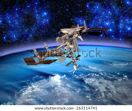 Earth satellite space station spaceship meteorology. Elements of this image furnished by NASA. - stock photo