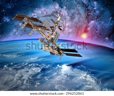 Earth satellite space station spaceship orbit sci fi landscape. Elements of this image furnished by NASA. - stock photo