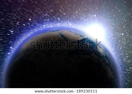 Earth seen from space. Clouds and atmosphere.   Elements of this image furnished by NASA - stock photo