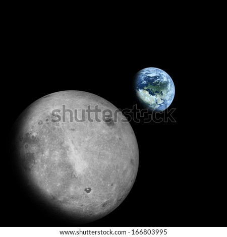"Earth seen from the moon ""Elements of this image furnished by NASA"" - stock photo"