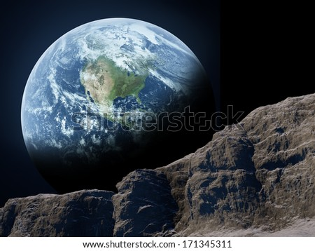 Earth seen from the moon. Elements of this image furnished by NASA - stock photo