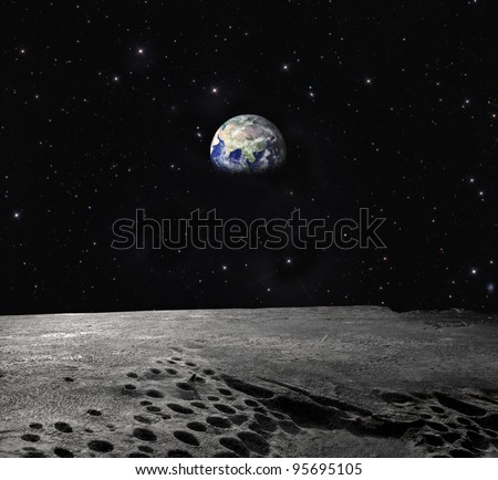 """Earth seen from the Moon """"Elements of this image furnished by NASA"""" - stock photo"""