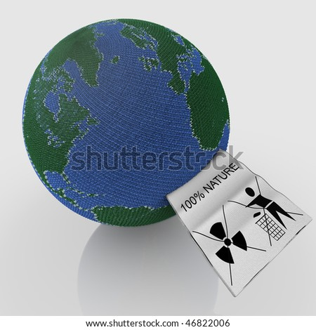 Earth shaped ball of wool with inscribed on its label: this is not waste, do not throw. Ecology concept - stock photo