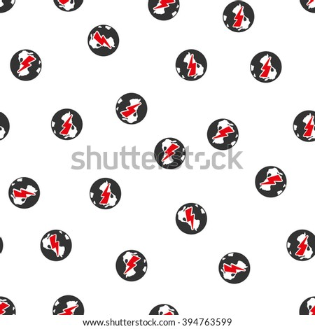 Earth Shock raster seamless repeatable pattern. Style is flat red and dark gray earth shock symbols on a white background.