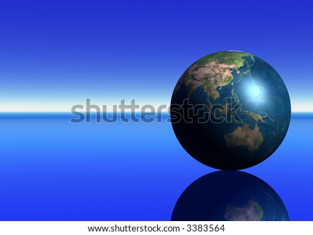 Earth showing Australasia - stock photo